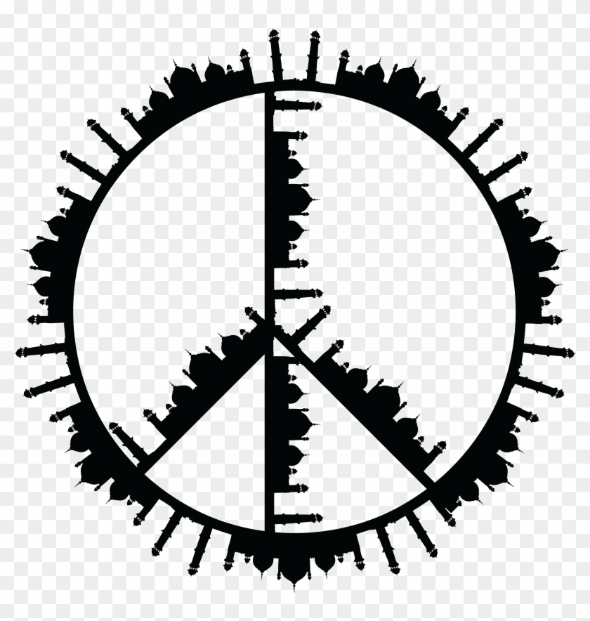 Free Clipart Of A Peace Symbol Of Mosques In Black Permanent