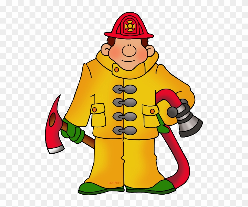 Occupations Clip Art By Phillip Martin, Fireman - Firefighter Clipart #49828