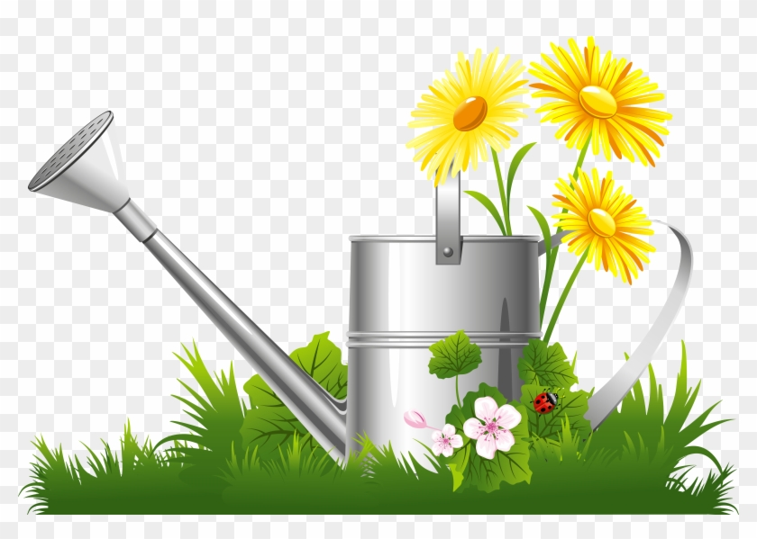 Spring Decoration With Water Can Grass And Flowers - Spring Flower Clipart Png #51483