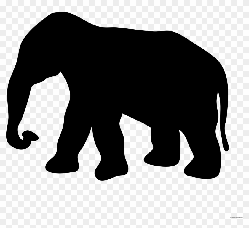 Elephant Silhouette Animal Free Black White Clipart - Elephant Silhouette #51496