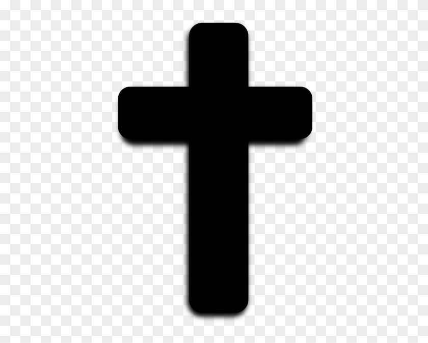 Rounded Black Cross Clip Art At Clker - Cross Clipart Black And White #52317