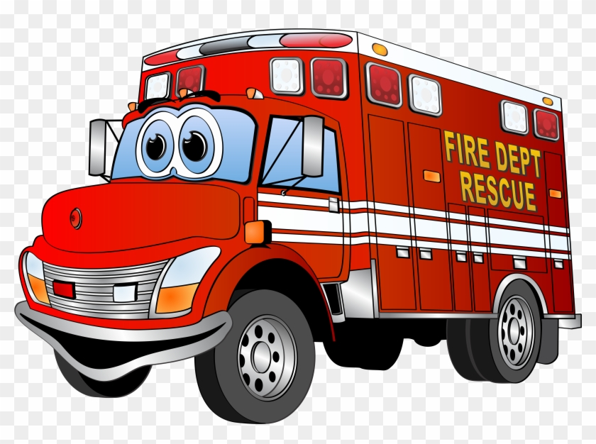 Firefighter Clipart Emergency Vehicle Pencil And In - Red Fire Truck Cartoon #52496