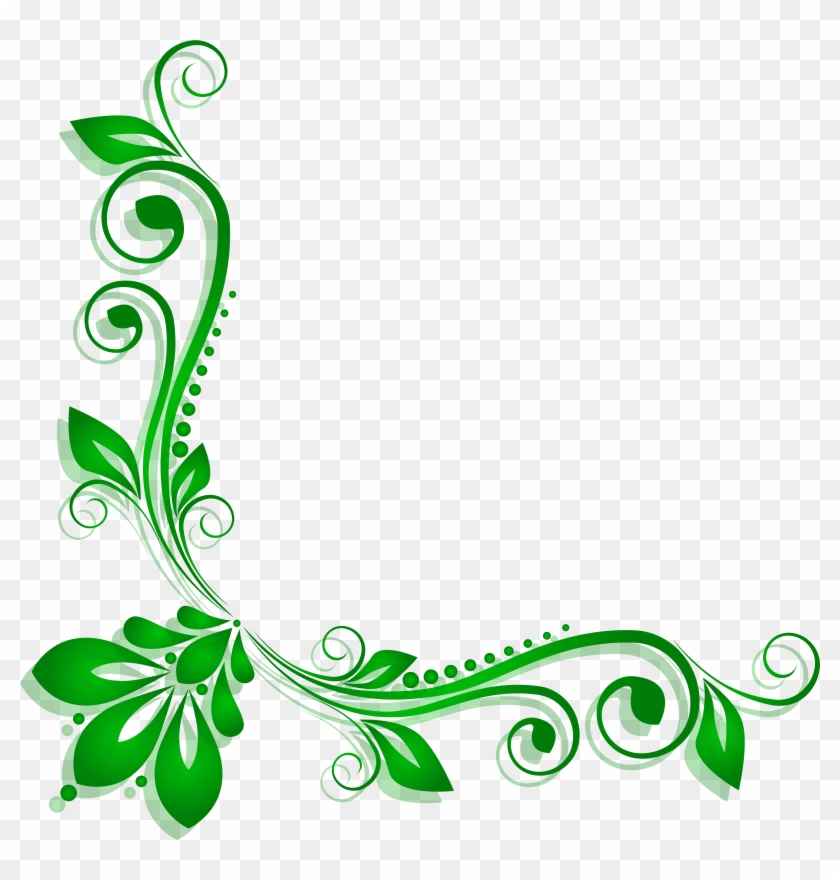Green Floral Deco Png Clipart - Green Flower Border Png #271831