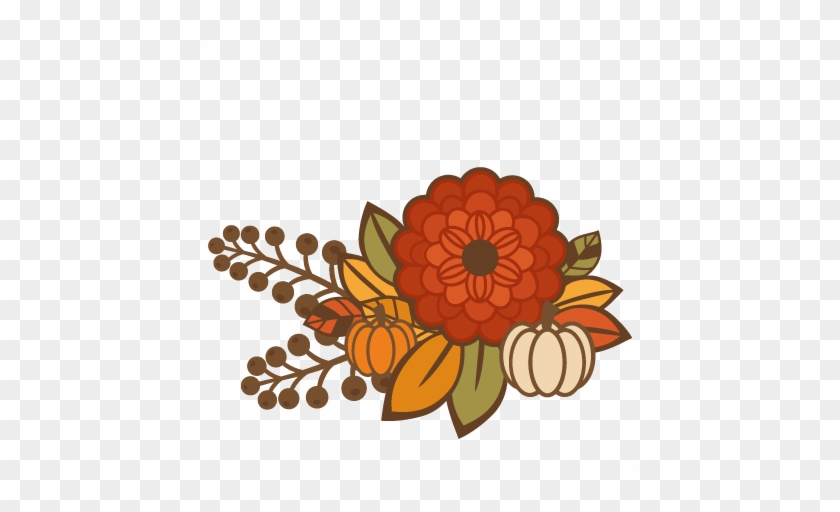 Fall Flower Group Title Svg Cutting File For Scrapbooking - Free Fall Flower Clipart #271868