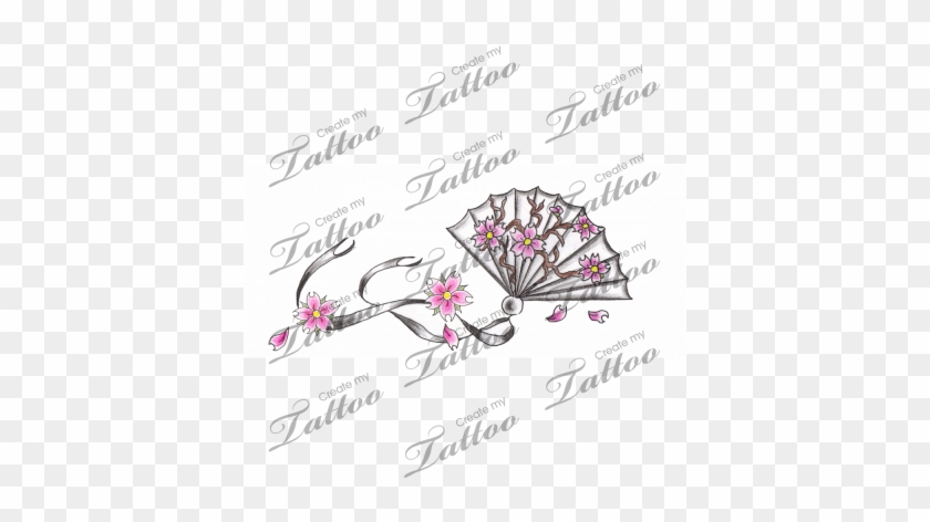 Marketplace Tattoo Japanese Cherry Blossom Fan Rose Vine Wrist