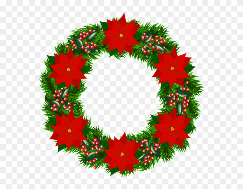 Christmas Wreath Png Transparent.Christmas Wreath With Poinsettia Png Clipart Image