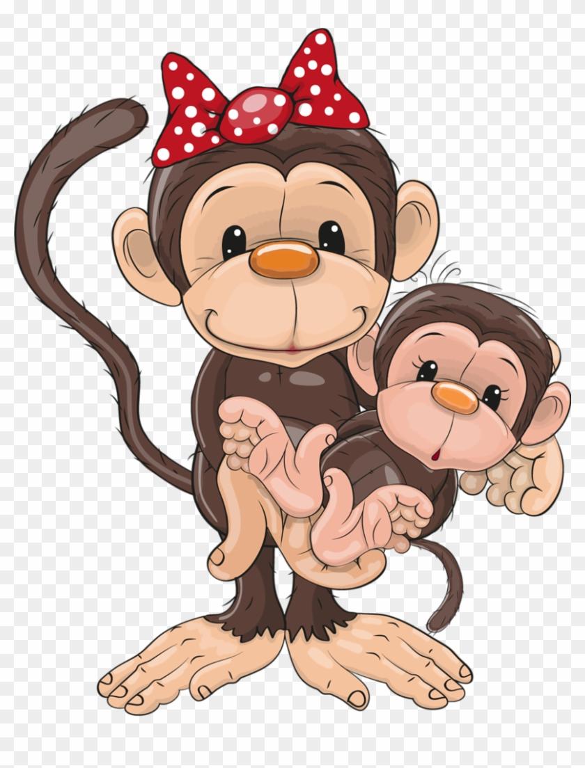 Kata Monkey Clipart - Mom And Baby Monkey Cartoon #272730