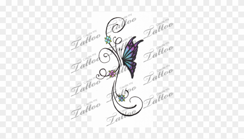 Marketplace Tattoo Little Butterfly And Flower Vine - Butterfly And Vine Tattoos #273245