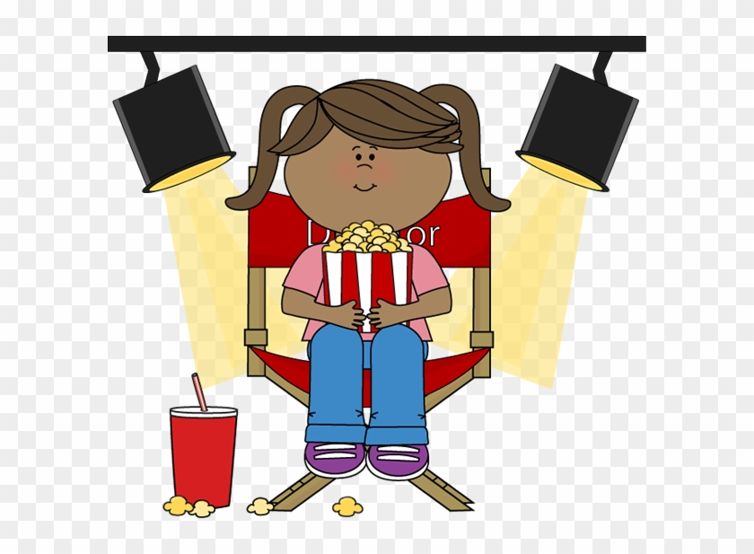 Girl Eating Popcorn In Directors Chair - Movie Theater #273415