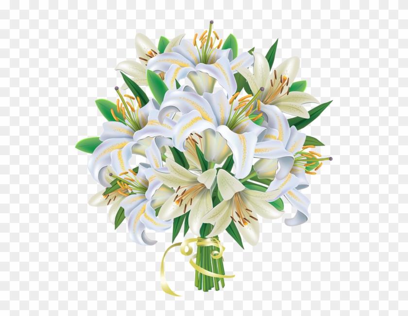 White Lilies Flowers Bouquet Png Clipart Image - Flower Bouquet Png Clipart #273626