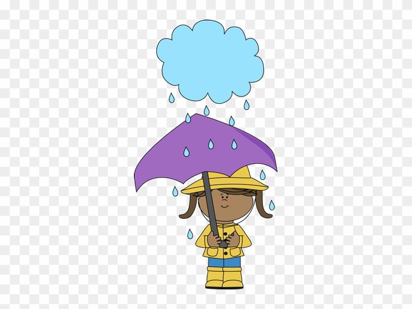Girl Under A Rain Cloud - Kids With Umbrellas Clip Art #274187