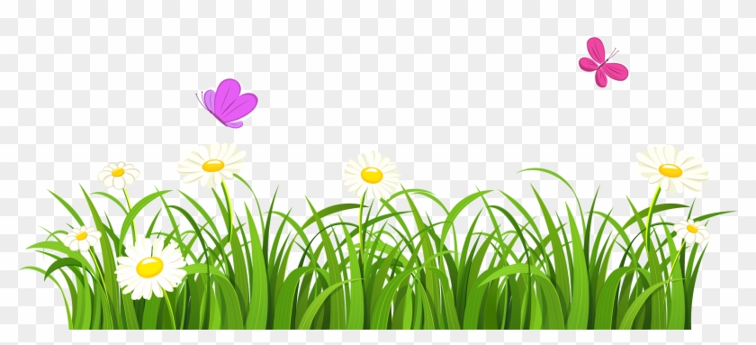 Grass And Butterflies Clipart - Grass And Flowers Clipart #274479