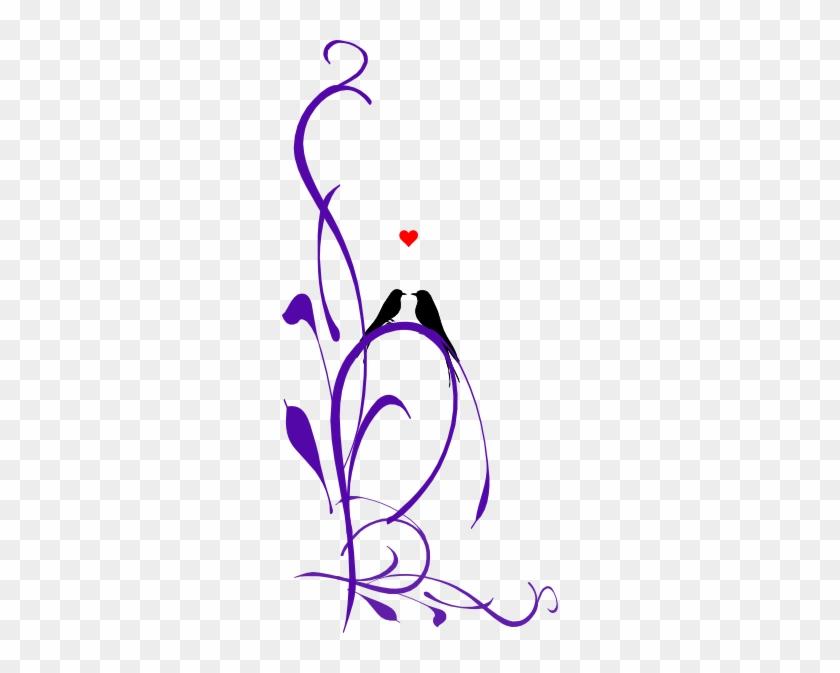Love Birds On A Branch Purple Long 2 Clip Art - Love Birds Clipart Purple #274577