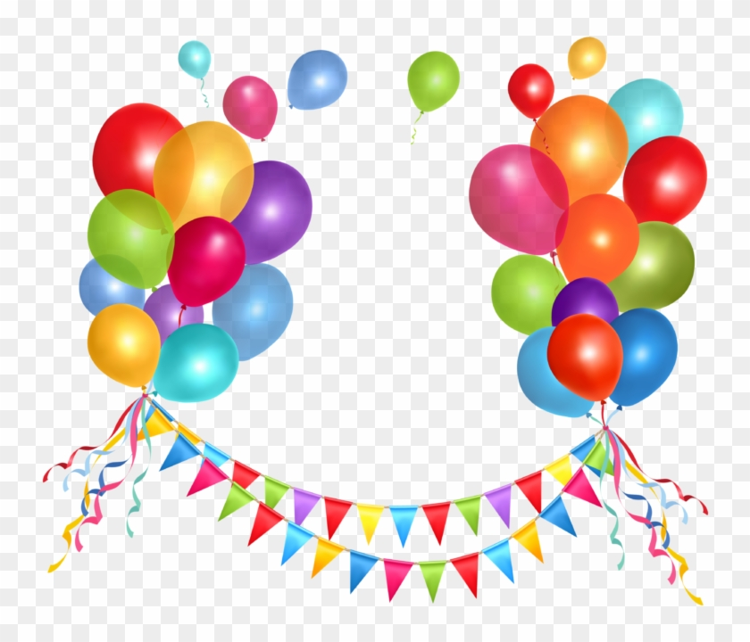 Transparent Party Streamer And Balloons Png Clipart - Happy Birthday Balloons Png #274680