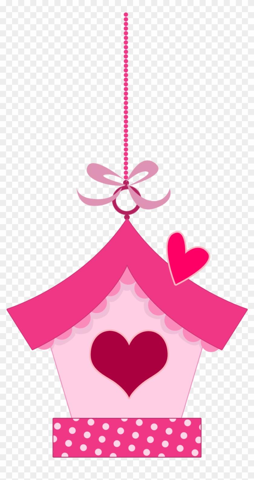 Pink In Love Birds Clipart - Topo De Bolo Jardim Encantado Para Imprimir #274832