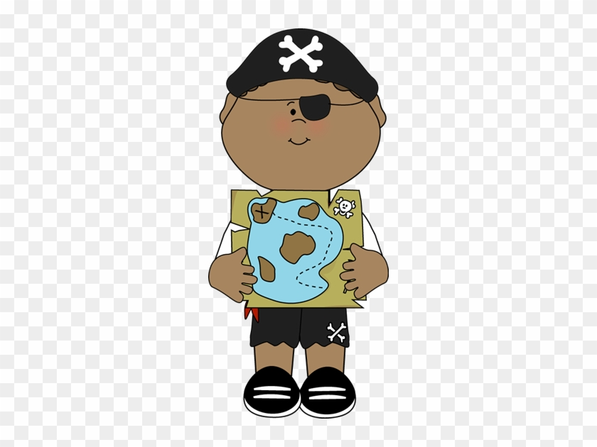 Pirate Clipart Cute - Pirate With Map Clipart #276252