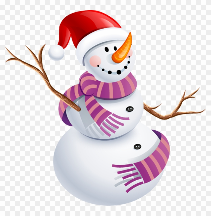 Snowman With Purple Scarf Png Picture - Snow Man Png #276786