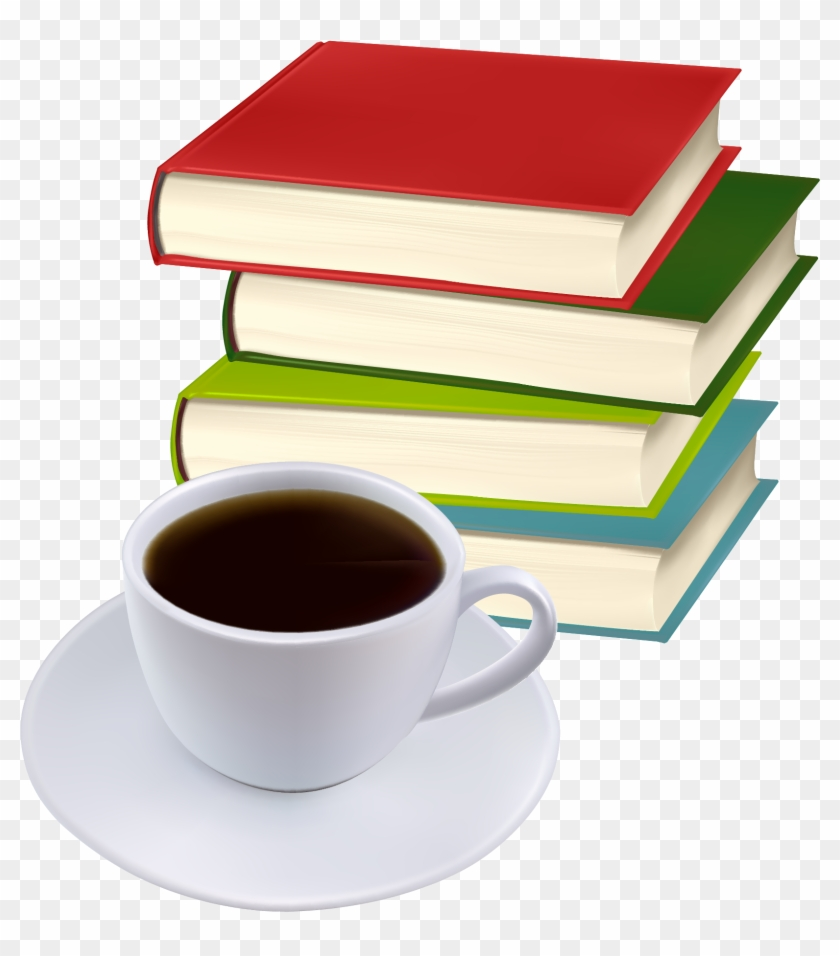 Books And Coffee Vector - Transparent Stack Of Books #277810