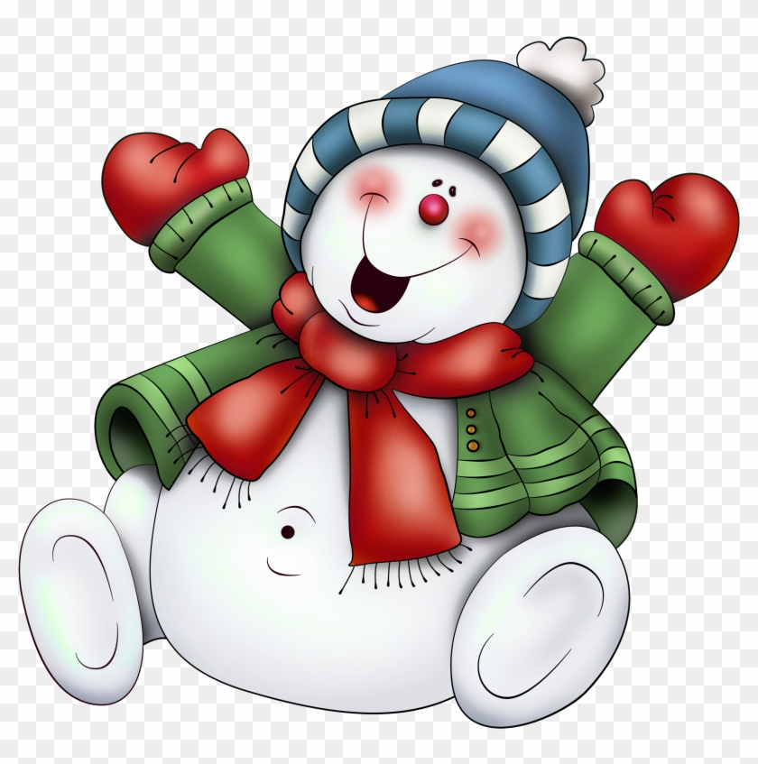 Snowman With Scarf Png Clipart - Cute Snowman Clipart #278030