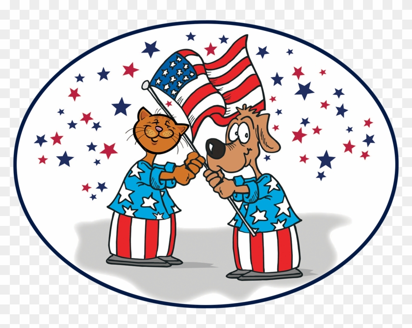 Dog And Cat With The Us Flag - American Flag Clip Art #278054