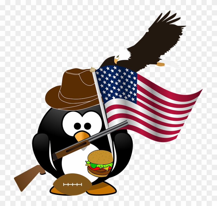 Penguin Flag Eagle American Patriotic Burger