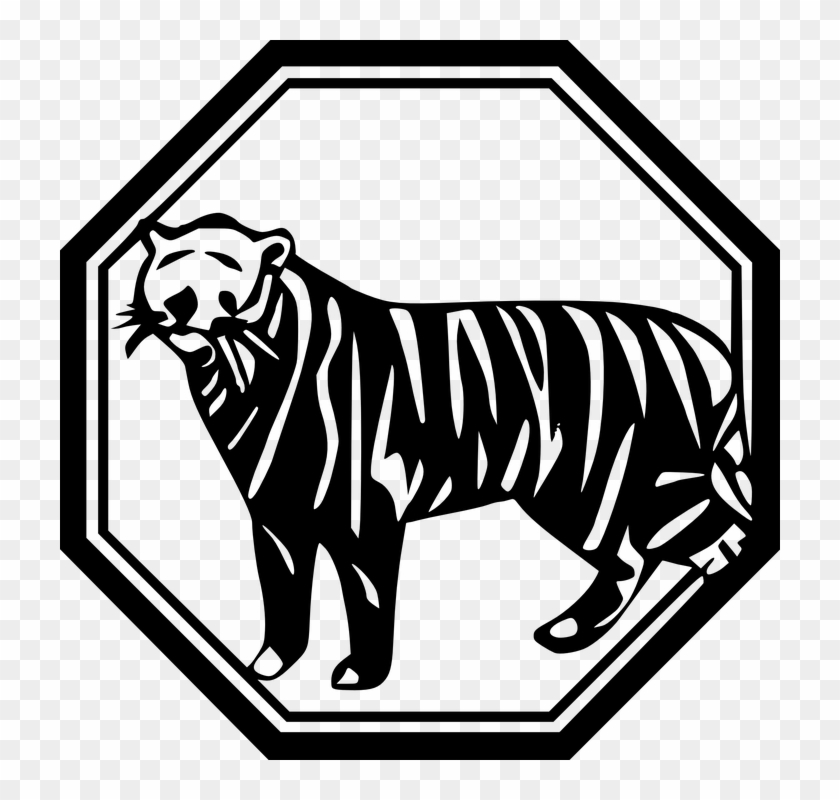 Black And White Tiger Clipart 14, - Chinese New Year Card #278085