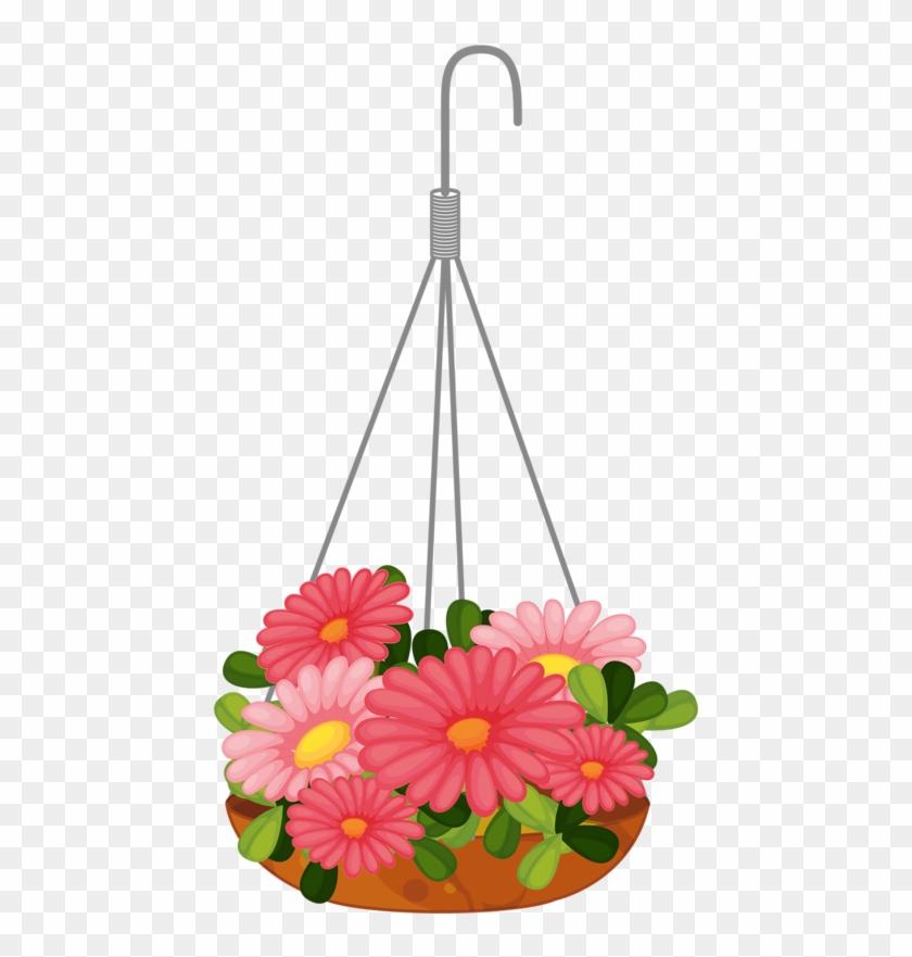 Pot Plant Clipart Flower Basket - Hanging Basket Clip Art #278326