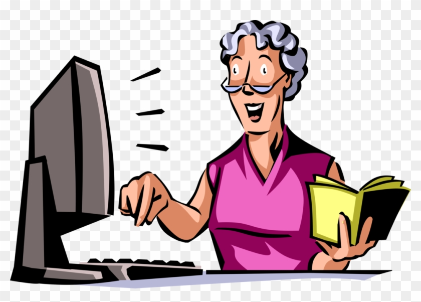 Vector Illustration Of Retired Elderly Woman Follows - Vector Graphics #278388