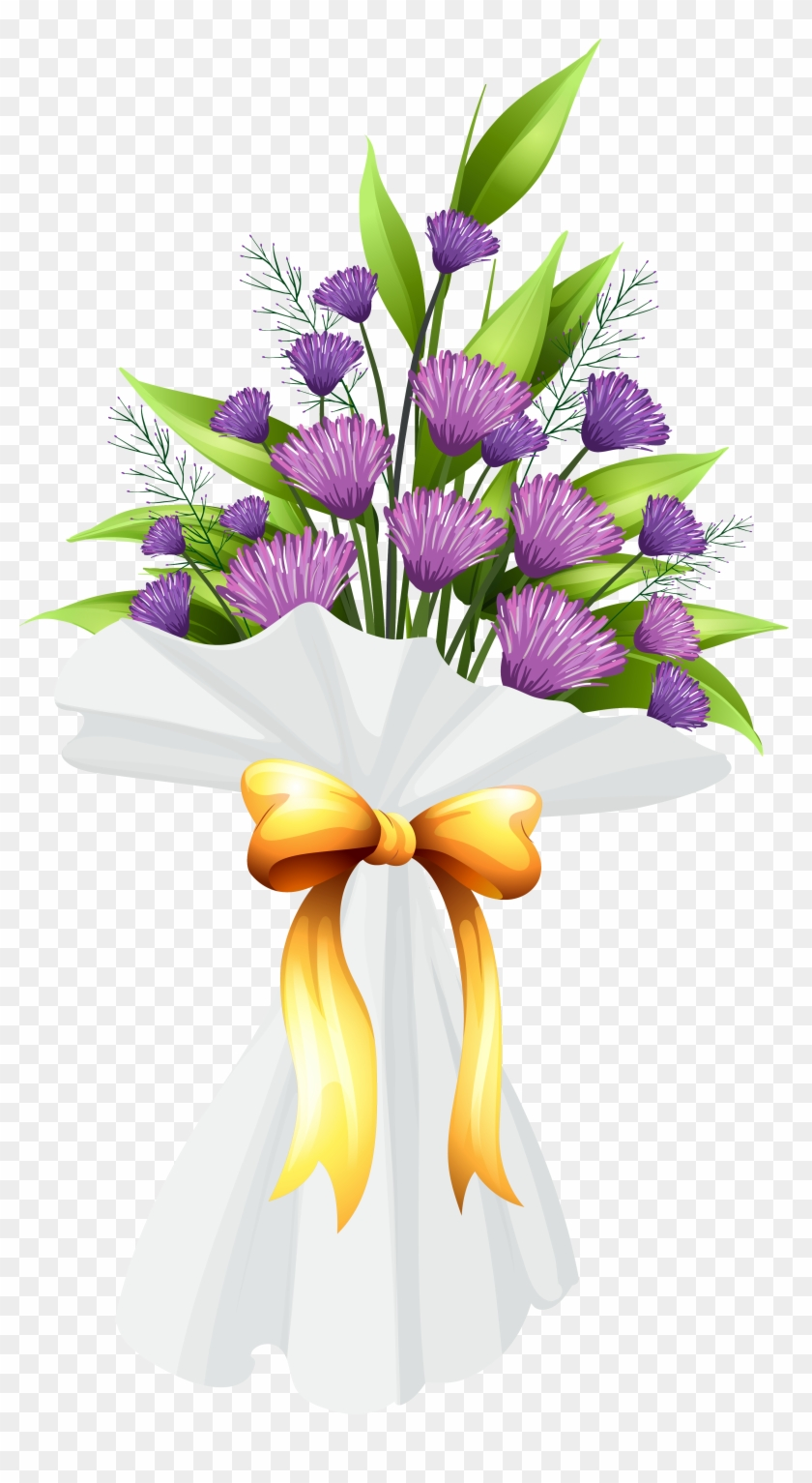 Purple Flowers Bouquet Png Clipart Image Purple Flower Bouquet