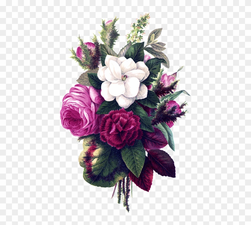 Flower Bouquet Decoration Purple Flower Vintage Png Free