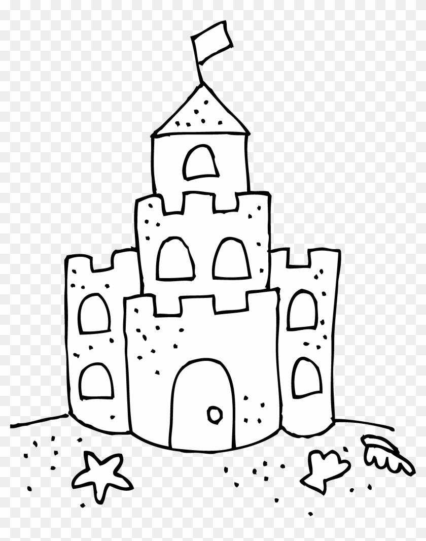 Cute Sand Castle Coloring Page - Drawing Of A Sand Castle - Free ...