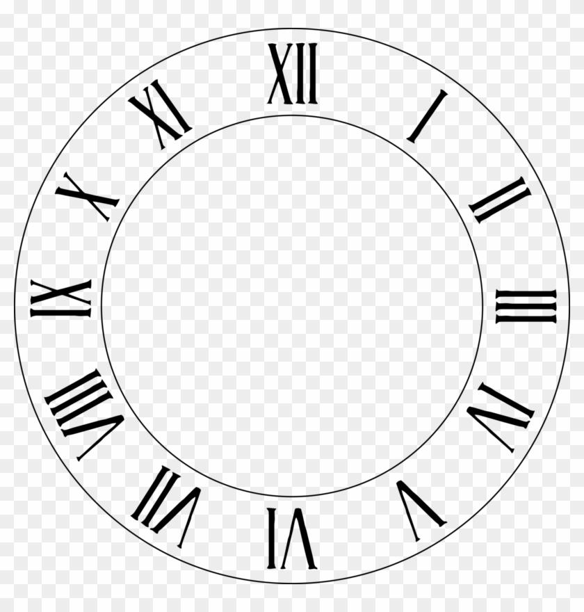 Clock Face Roman Numerals Clip Art - Clock Face Roman Numerals #280345