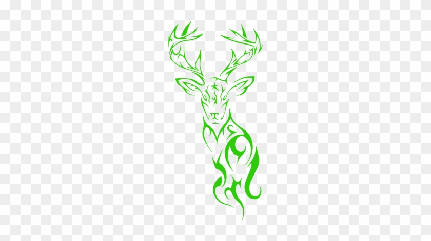 Tribal Deer Head Silhouette Vinyl Decal Sticker, Premium - Tribal Deer Tattoo Design #280784