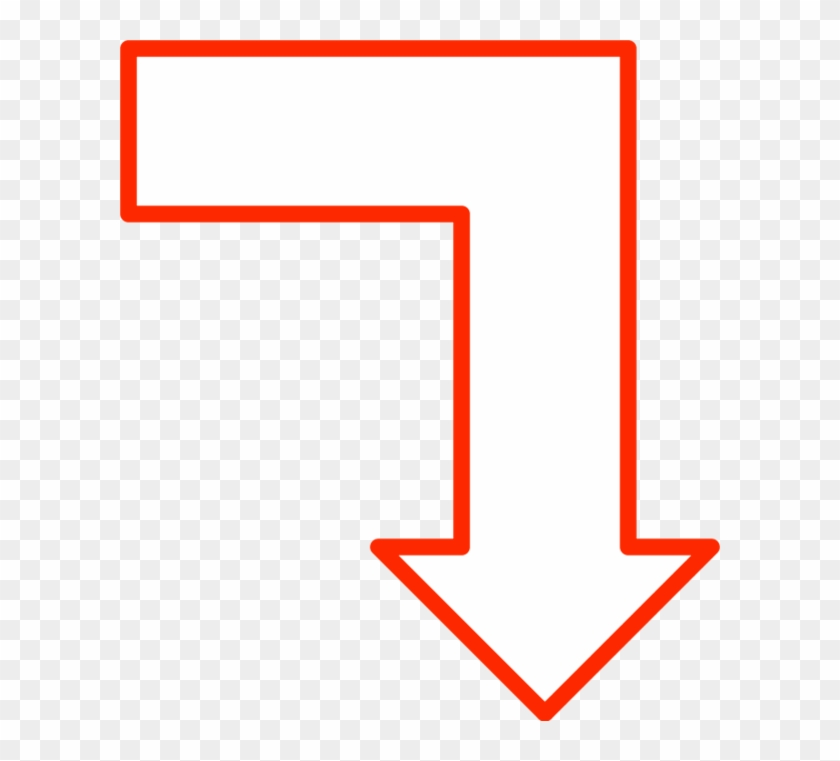 L Shape Arrow Pointing Down - Arrow Pointing Right Then Down #280819