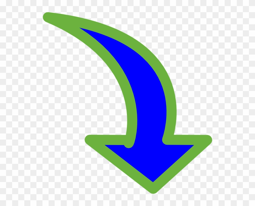 Curved Arrow Bright Blue Small 3 Clip Art At Clker - Curved Arrow Pointing Down #281321