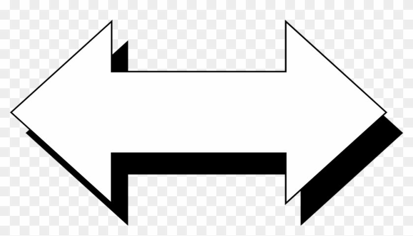 White Horizontal Arrow With A Black Shadow Clipart - Arrows