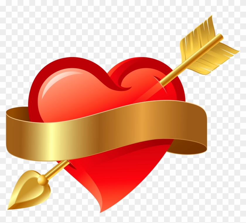 Red Heart With Arrow Png Clipart - Red Heart With Arrow #281783