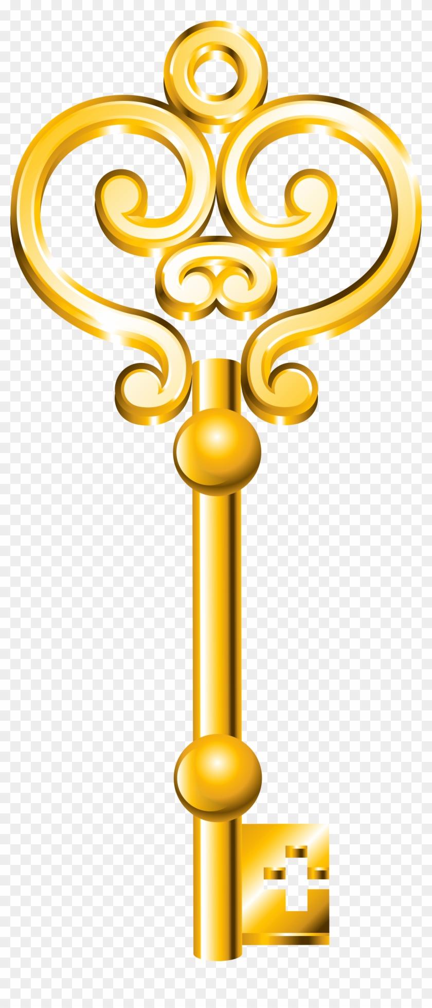 Golden Key Png Clip Art - Gold Key Png #282012