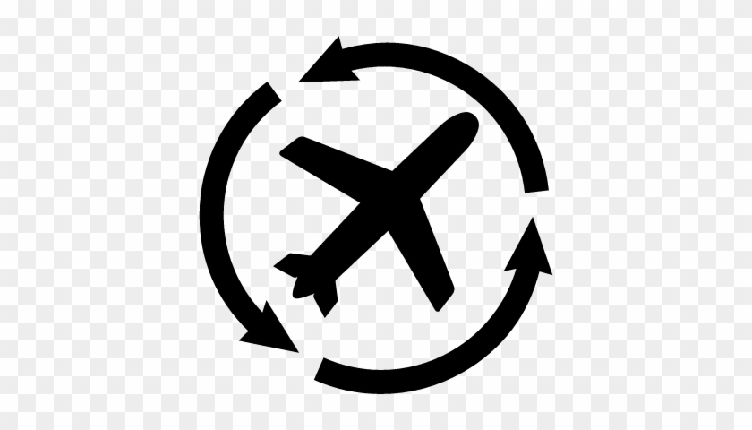 Airplane Silhouette With Arrows Circle Vector Vector Graphics
