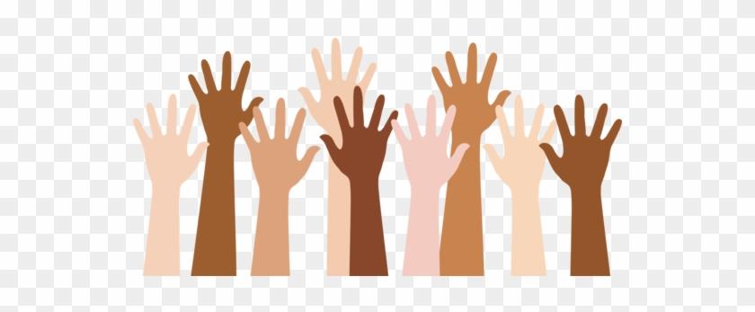 Diverse People Raising Hands