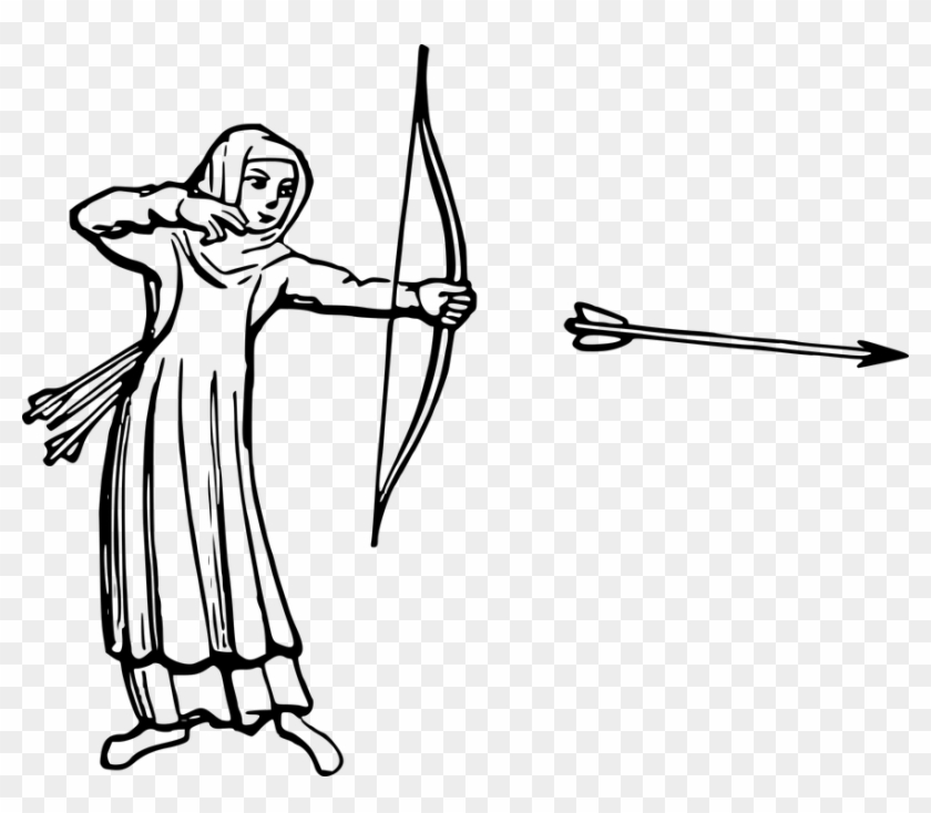 Drawn Pixel Art Bow And Arrow - Arrow And Bow In Drawing #282469