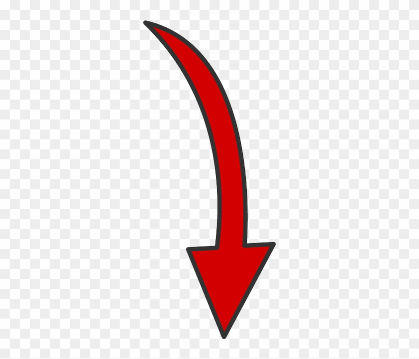 Red, Arrow, Down, Curved, Curve - Pfeil Png #282864