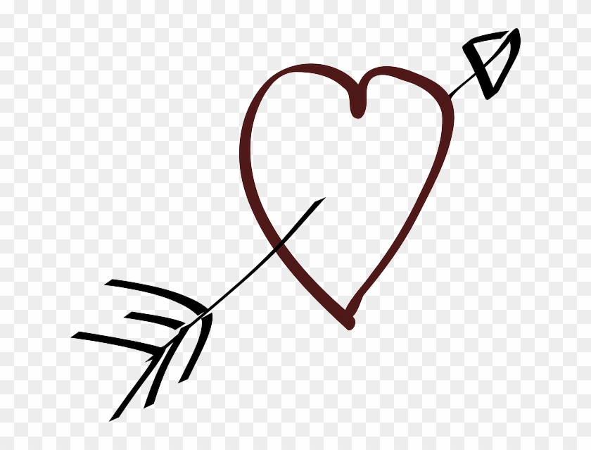 Love Heart Arrow Stylistic Hand Drawn Heart With Bow And Arrow