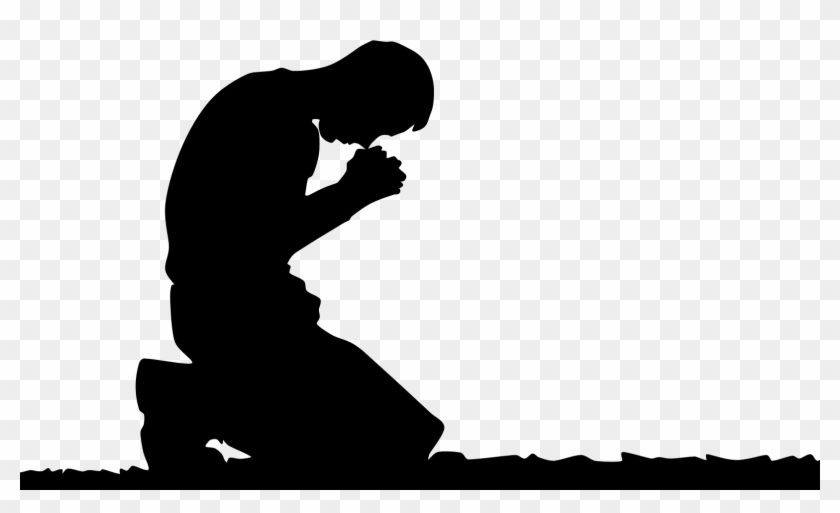 Praying Hands Prayer Man Silhouette Clip Art - Kneeling ...