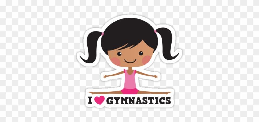 I Love Gymnastics Cartoon Stickers, Girl With Black - Cartoon Girl Doing Gymnastics #283898