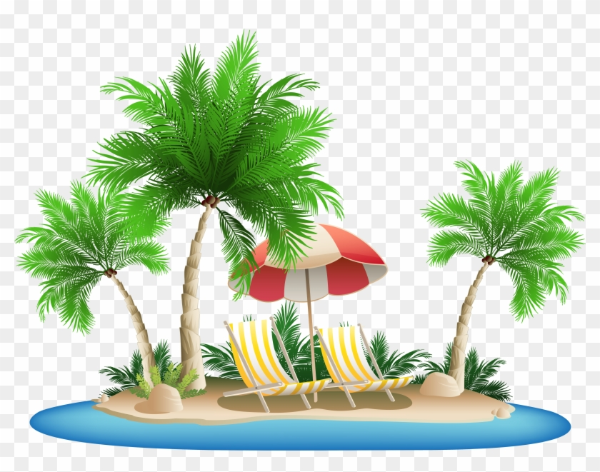 Beach Umbrella With Chairs And Palm Island Png Clipart Tree 284377