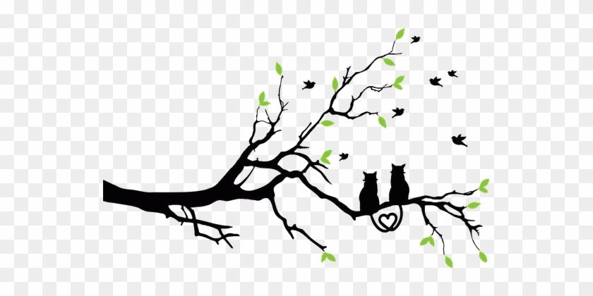 Animals, Birds, Cats, Feline, Love, Pet - Tree Print On Wall #284599