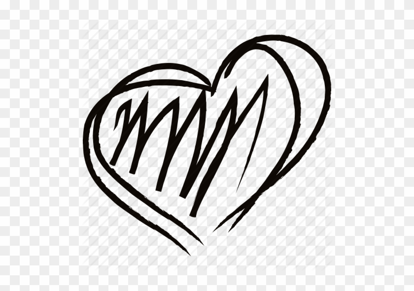 Drawing, Drawn, Hand, Heart, Like, Love Icon Icon Search - Hand Drawn Heart Png #284620