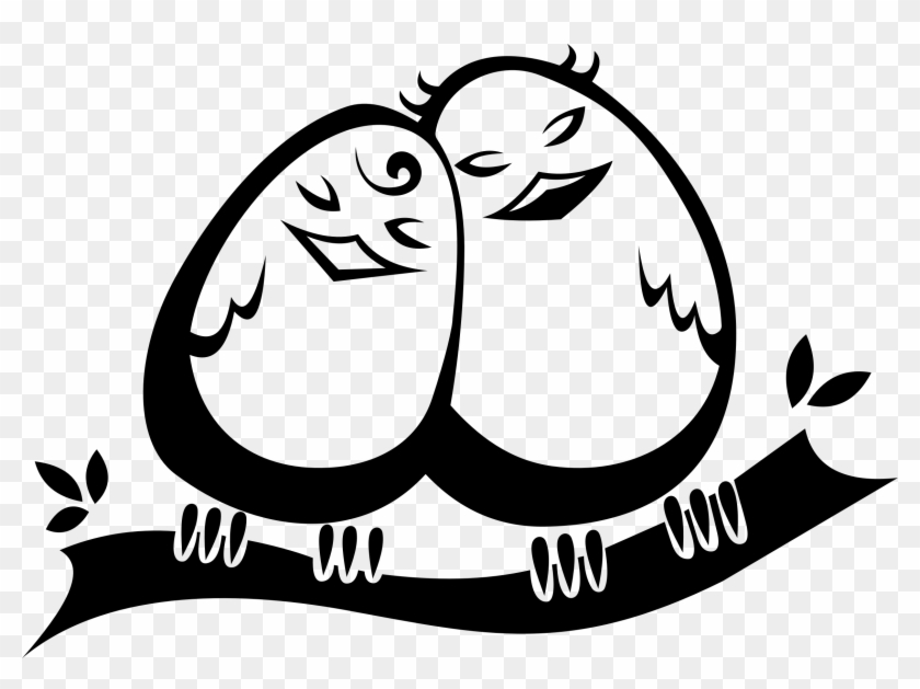 Lovebird Clipart Black And White - Birds In Love Clipart Transparent #284673