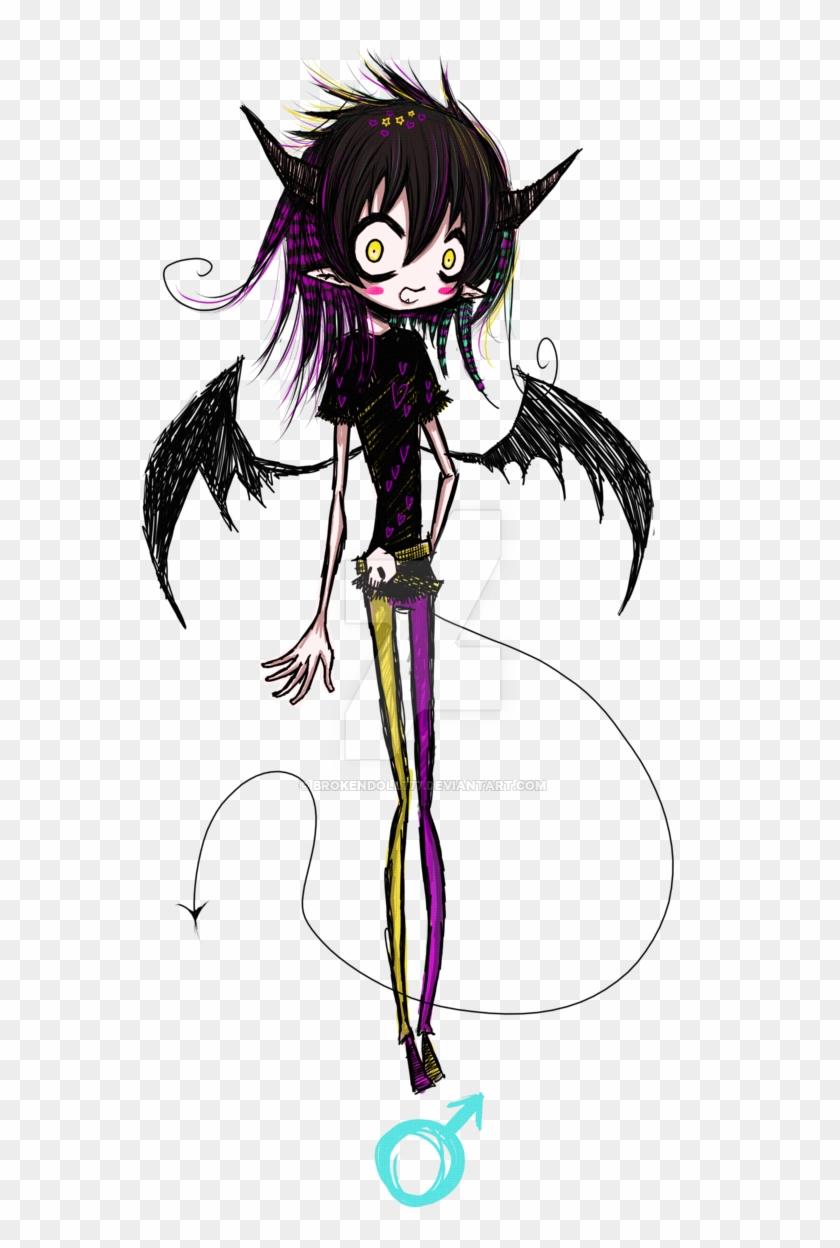 Custom emo demon boy anime doll boy drawing